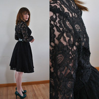 Vintage 1980s Black Lace Rimini Formal Dress by WayfaringMagnolia