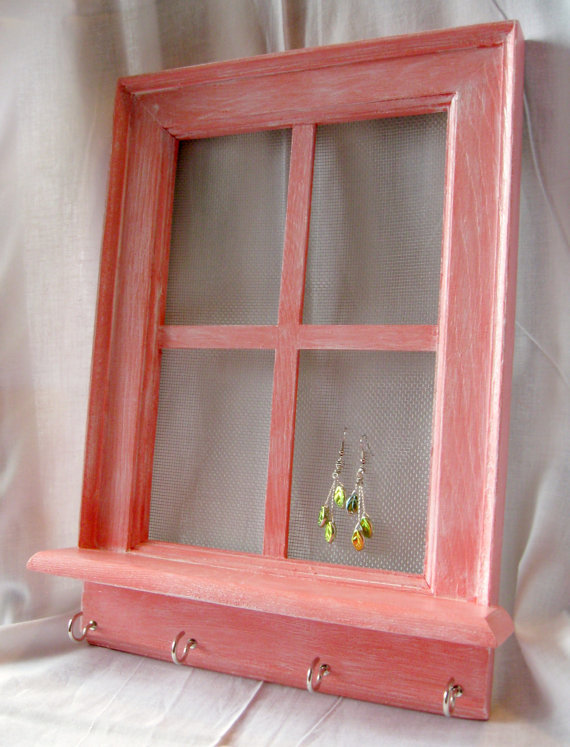 Window Frame Jewelry Hanger  Coral by AFishWhoLikesFlowers on Etsy