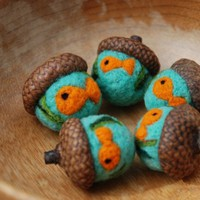 Felted Acorns with Needle Felted Goldfish by greenbaboondesigns