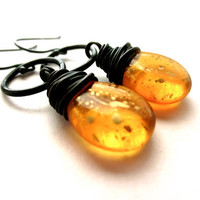 Amber Earring Oxidized Golden Topaz Earrings Golden by lcatlla