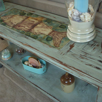 Sofa Table Shabby Beach Cottage Wooden Buffet by honeystreasures