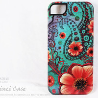 Paisley iPhone 5 Case - Teal Green and Orange Floral iPhone 5 Cover - Paisley Paradise Dual Layer TOUGH iPhone 5 Case