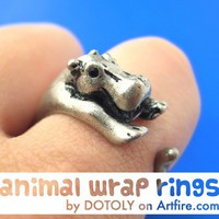 Realistic Hippo Animal Wrap Around Hug Ring in Silver - Sizes 4 to 9