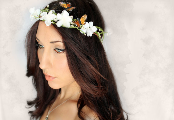 Butterfly Flower Crown Wedding Tiara wedding accessory by deLoop
