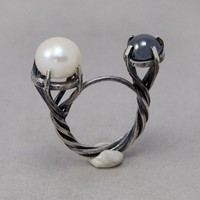 White Pearl Silver  Ring  One Of A Kind Pretty by toolisjewelry
