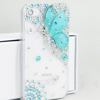 Deluxe Butterfly Bling Diamond Battery Handmade Case Cover For iPhone4 4S HZ03