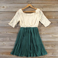 Lace & Pine Dress in Emerald, Sweet Women's Bohemian Clothing