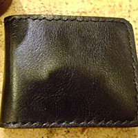 Black leather man&#x27;s wallet  handmade