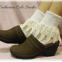 My Signature Lace Sock - venise WHITE /IVORY lace cuff sock womens - Catherine Cole Studio - Victorian lace boot socks Made In U S A (SLC2)