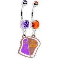 Amazon.com: Peanut Butter and Jelly Best Friends Belly Ring Set: Jewelry