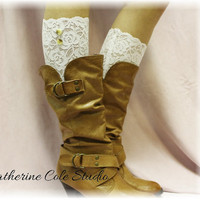 NEW White Stretch lace boot cuffs for Spring/Summer lightweight design Catherine Cole Studio made in usa lace boot toppers LC1