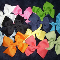 Lot of 10 Girl's Classic Hair Bow 11 Ribbon by theribbonboutique