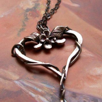 Silver Heart Necklace Flower Leaves Vine by AUNALIArtisanMetal