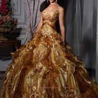 Special gold strap ball gown beading quinceanera gown,Gold prom dress