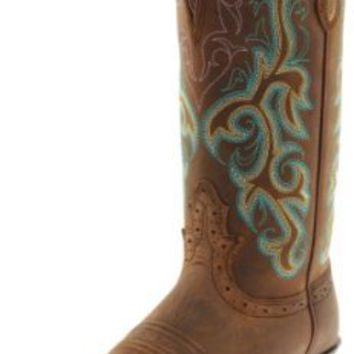 """Justin Boots Women's Stampede Collection 12"""" Boot Wide Square Single Stitch Toe Western Rubber Outsole,Sorel Apache,7 B US"""