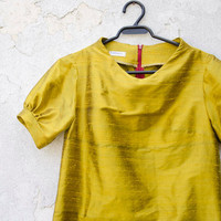 Mustard Yellow Dress in Silk with raised neckline and puffy sleeves