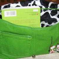Jeans bag with happy cows on a swing by handmadefuzzy on Zibbet