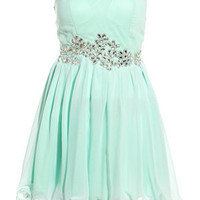 AX Paris Mint Green Embellished Prom Dress