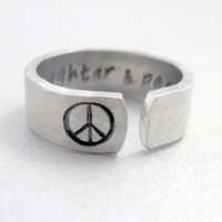 Hammered Secret Message Peace Sign Ring - Love Laughter and Peace- Hand Stamped Aluminum Ring - Customizable