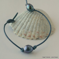 Pearl leather bracelet single freshwater peacock by JudysDesigns