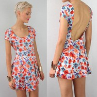 FESTIVAL FLORAL SCOOP LOW CUT OUT OPEN BACK BACKLESS SATER DRESS 8 10 12