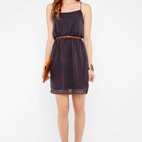 I Like Dot Belted Dress in Navy :: tobi