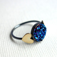 Electric Blue Druzy Ring with Brass Hearts