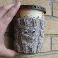 Owl Cup Cozie 100 wool handknit by KnitsYoursKnotMine on Zibbet