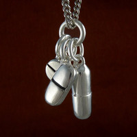 Pill Necklace Antique Silver Pill Pendant Necklace by LostApostle
