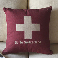 Go to Switzerland printed pillow cover