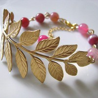 Brass Botanical Branch With Pink Striped Agate Round Gemstone Beads Bracelet