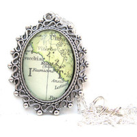 Vintage Map Necklace of Rome Italy by CarpeDiemHandmade on Etsy