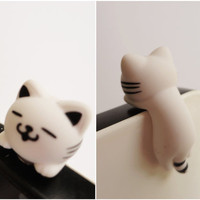 Cute White Cat Dust Plug - earphone plug