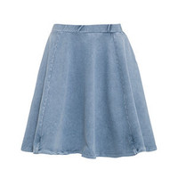 Pale Blue Denim Jersey Skater Skirt