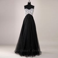 Gorgeous Black A-Line Floor-Length Prom Dresses / Graduation Dresses