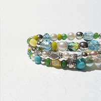 Stretchy Bracelets - Aqua Blue, Green, Yellow, Stacking Bracelets