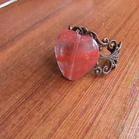 Minimalist Vintage Glass Heart Bead Ring. Great Adjustable Copper Filagree Band | Luulla