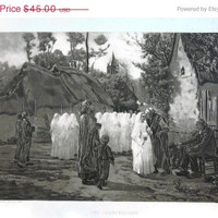 50% OFF SALE Antique 1889 Art Print - The Communicants by Jules Adophe Brenton, Gebbie &amp; Co.
