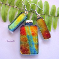 Sparkling Festive Fused Glass Dichroic Pendant and Earring Jewelry Set