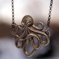 Brass Octo Necklace - &amp;#36;20.00 : RagTraderVintage.com, Handmade Indie Retro Accessories