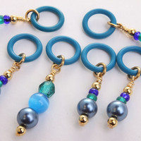 stitch markers knitting pattern markers blue on blue by DoubleHalo