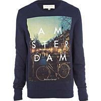 Navy amsterdam print sweatshirt