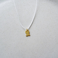 Little gold fish necklace, 18 k solid gold fish pendant on a pale, baby blue cord