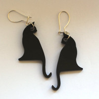 Product - Black Cat Earrings.Plexiglass Jewelry,Lasercut Acrylic,Gifts Under 25 by bugga · Storenvy