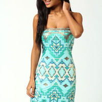 Millie Sequin Aztec Boobtube Dress