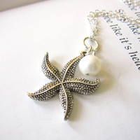 Antique Silver Starfish Necklace with fresh water pearl -  Bridesmaids necklace for Beach Wedding  - Nautical gift FREE SHIPPING
