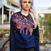 New York Skyline print boyfriend Jumper from The Left Bank