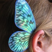 $12.75 BUTTERFLY Blue Stripe/ Fairy Ear Wings by artlandish on Etsy