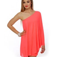Sexy Neon Dress - One Shoulder Dress - Hot Coral Dress - &amp;#36;59.00