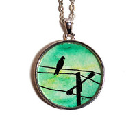 Bird on a Wire Emerald Green Sky Watercolor Painting Pendant Pendant necklace